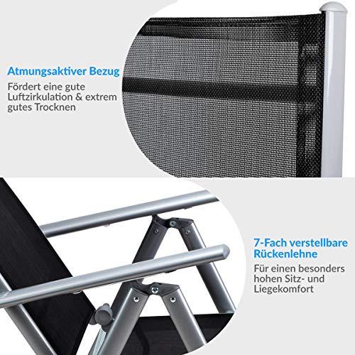 Alu Sitzgruppe 8+1 Sitzgarnitur Gartengarnitur Tischplatte aus Glas + klappbare und neigbare Stühle - 4