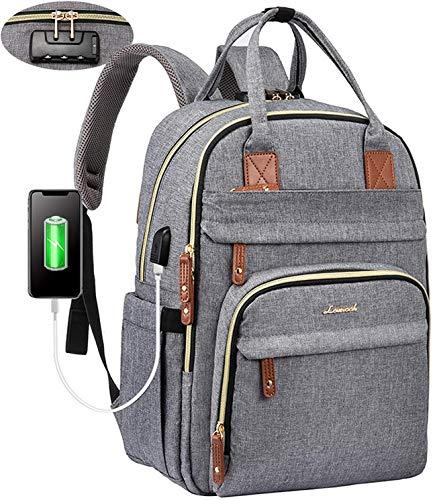 LOVEVOOK Laptop rucksack damen Anti-Diebstahl mit codiertes Schloss, damen rucksack groß mit USB Ladeanschluss schulrucksack mädchen teenager mit großer Kapazität Laptop rucksack mit laptopfach grau