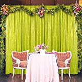 Sequin Backdrop Curtain 4FTx8FT Lime Green Sequin Photo Backdrop Wedding Party Background Drapes Fabric Backdrop 8 Ft Christmas Backdrop Shimmer Curtain for Backdrop (4FTX8FT, Lime Green)