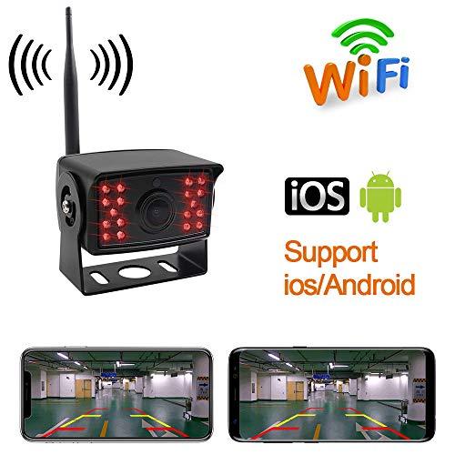 SSCJ Cámara de Marcha atrás inalámbrica Impermeable para visión Nocturna con Kit de Monitor de línea de Respaldo Compatible con iPhone y Android