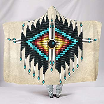 Wearable Blanket Native American Indians Hooded Blanket Microfiber Wearable Poncho Plush Ultra Soft Wearable Throw Cape with Hood White 60x80 inch