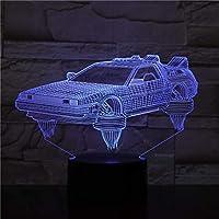 Solo 1 pieza Regreso al futuro Vehículo Coche Lámpara 3D Bonito regalo para fanáticos del cine Luz nocturna Lámpara LED de luz nocturna con batería Entrega rápida