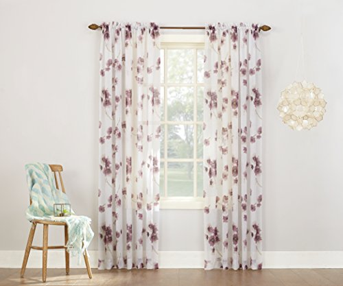 "No. 918 Kiki Floral Print Crushed Sheer Voile Rod Pocket Curtain Panel, 51"" x 84"", Lavender"
