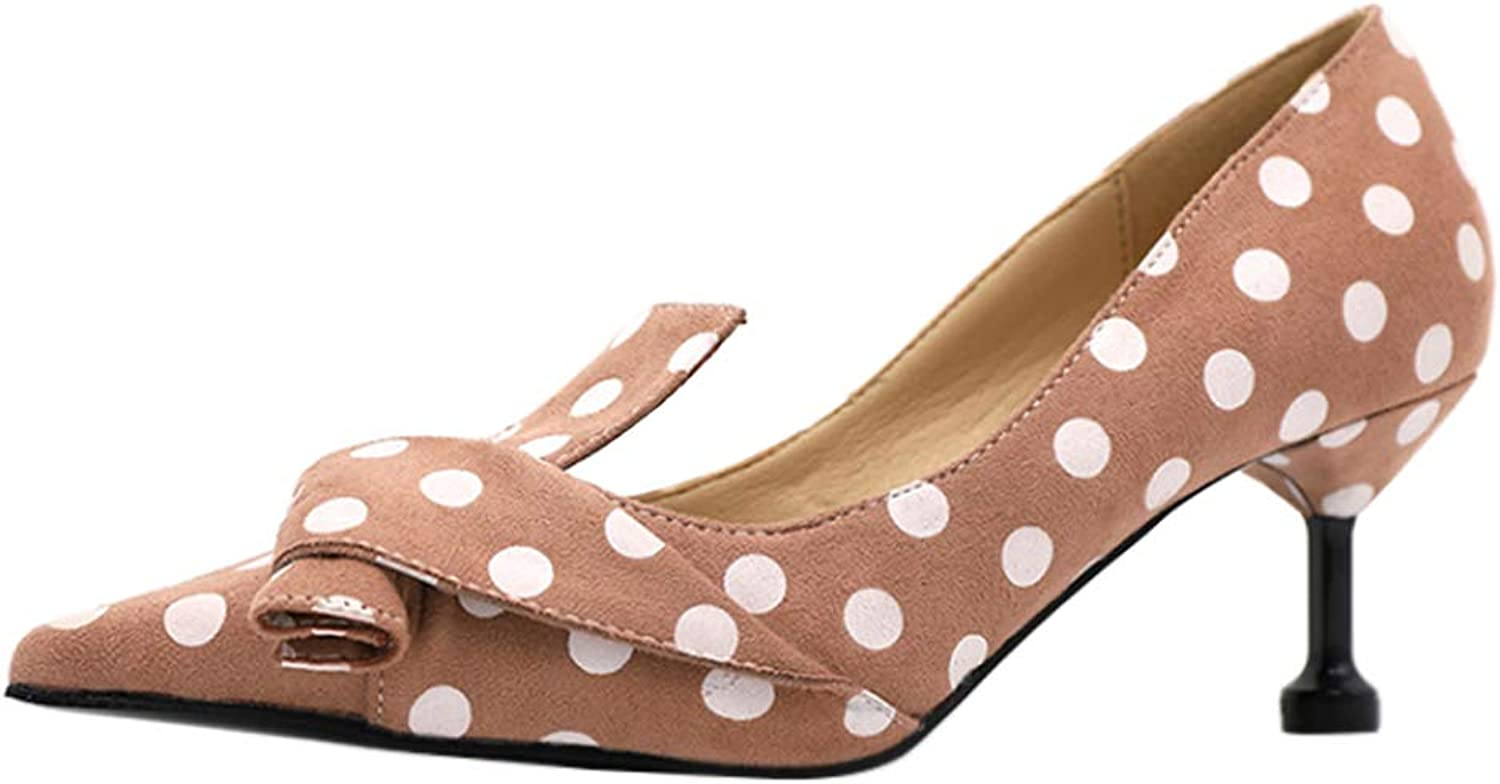 Yudesun Women Pumps Heels - Stiletto Polka Dot High Heels Evening Classic Low Heel Pumps shoes
