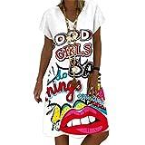 NAQUSHA Maxivestido para mujer, casual, con cuello en V, bohemio, floral, manga corta, vestido de verano para mujer