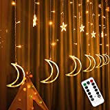 FUNPENY Star Moon Curtain String Lights, 138 LED Window Lights with Remote...