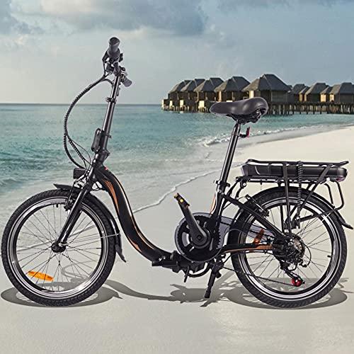 Bici electrica 250W Motor Sin Escobillas Bicicleta Eléctrica Urbana 7 velocidades Batería de 45 a 55 km de autonomía ultralarga Adultos Unisex