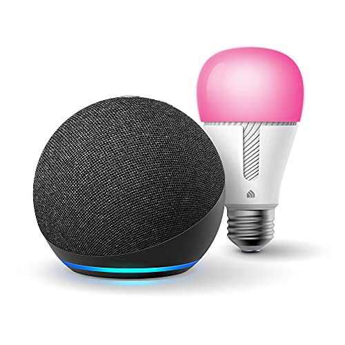 Echo Dot (4th Gen) | Smart speaker with Alexa | Charcoal with TP-Link Color Bulb