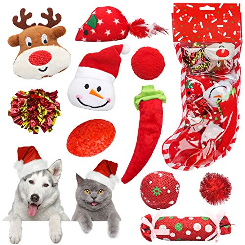 Dreamon Jouet de Noël pour Chat, 10 Pièces Animaux Domestiques Toys Jouet Interactif pour Kitty Balle Souris Cadeau de Noël pour Chats