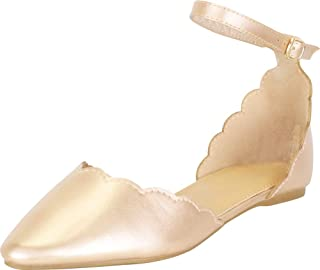 Cambridge Select Women`s Pointed Toe Scalloped D`Orsay Ankle Strap Ballet Flat