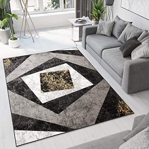 Tapiso Dream Alfombra de Salón Cuarto Diseño Moderno Amarillo Gris Negro Blanco Geométrico Cuadrados Fina 250 x 350 cm