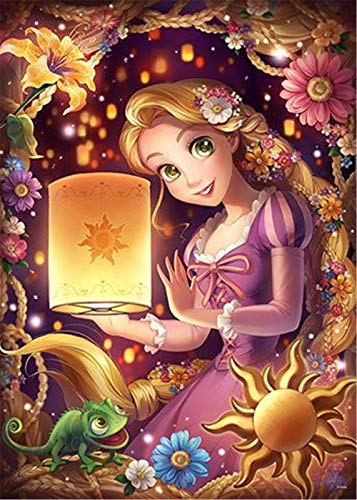 KVAQ 3D DIY Diamantmalerei, Cartoon Rapunzel Laterne Kreuzstich, runde Diamant Stickerei Kit, handgemachte Geschenk Home Decoration(7.8x9.8inch)