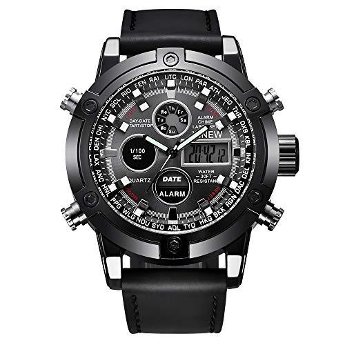 SJXIN Stilvolle Uhr XINEW Marke Herrenuhr Gürtel Sport elektronische Uhr Doppelanzeige Uhr männlich Modeuhren (Color : 1)
