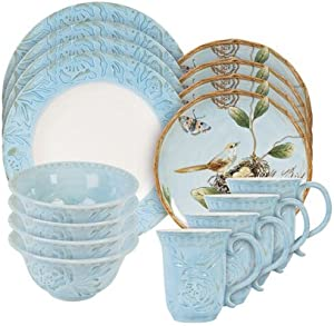 Fitz and Floyd Toulouse Blue 16 Piece Dinnerware Set