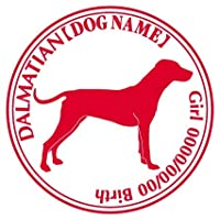 ダルメシアン ステッカー Cパターン グッズ 名前 シール デカール 犬 いぬ イヌ シルエット (ゴールド)
