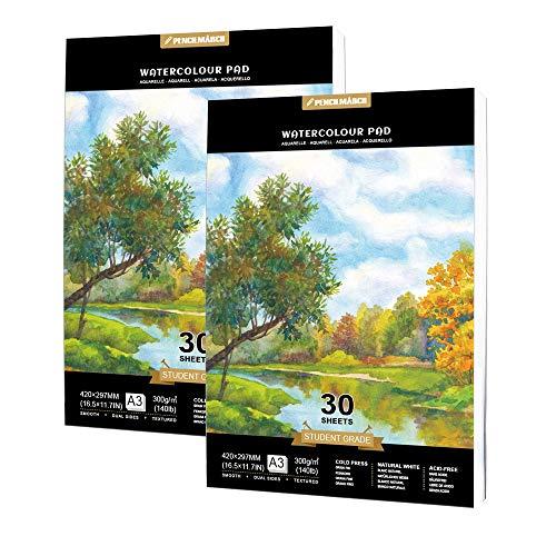 Watercolour Paper A3 60 Seiten für Aquarell Zeichnungen,kalt gepresster 300gsm Watercolour Zeichenblock,Aquarellpapier, ideal zum Reisen-Pencilmarch