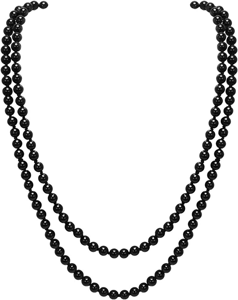 CrazyPiercing Faux Pearls Beads Necklace, Glass Strand Beads Necklace Chain, 1920s Fashion Imitation Pearls Long Necklace Vintage Costume Jewelry Necklace 55
