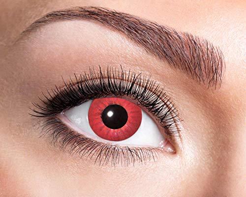 Goldschmidt Kontaktlinsen 3-Monatslinsen Halloween Motiv hochwertig (Elektro-rot, 0.00 Dioptrien)