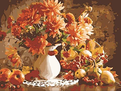 mR.ZHAIDAXIU Digitale Ölgemälde Warme Farbe Blumenstrauß Kunstmalerei Set DIY Geschenk Hauptdekoration