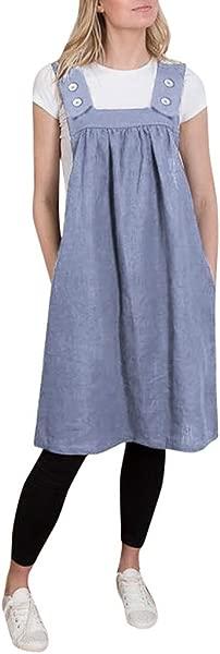 女休闲棉麻围裙背带连衣裙 AmyDong 方形十字工作休闲宽松纯色围裙装扮