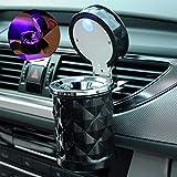 Emorias 1PCS cendrier Portables de Voiture éclairage LED Bon étanchéité Lavable cendriers avec lumière Poubelle Accessoires pour Voiture avec Support–Noir