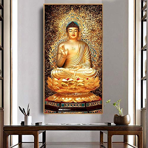 DIY 5D Diamond Painting Full kit, Golden Buddha Crystal Rhinestone Embroidery Picture Contains Handicraft Decoration Gifts, can be Used for Home Wall Decoration W14499
