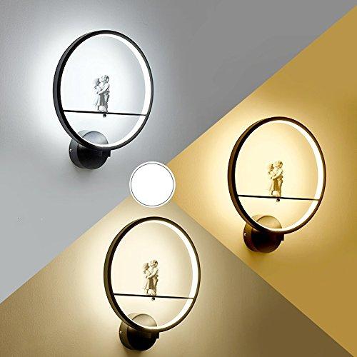 Creative Led moderne minimaliste mur de chevet chambre à coucher Lampe lumière escalier Couloir Couloir Art,lampe noir A 35 * 30cm,19 Watts éclairage réglable 3-couleurs