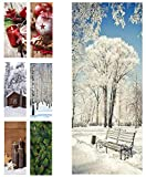 Hochwertiger Textilbanner Weihnachten/Winter – Große Auswahl – 180cmx75cm – Beidseitig Bedruckt - Schaufenster Deko - Wanddeko/Textilbild/Fotoprint - Fensterdekoration & Wandbehang (Bank im Schnee)
