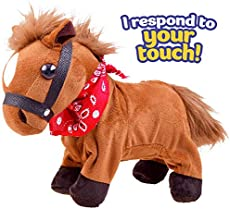 Liberty Imports Interactive Horse Plush Toy - Animated Walking Electronic Pet Animal with Sound Control - Gallops and Neighs (Pony)