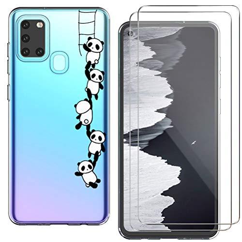 kinnter TPU Silikon Handyhülle Kompatibel mit Samsung Galaxy A21s Hülle Transparent Ultra Dünn Schutzhülle mit 2 Stück Galaxy A21s Panzerglas Screen Protector Kratzfeste Schutzfolie