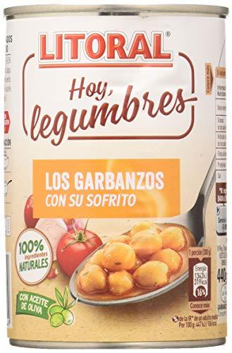 LITORAL Hoy Legumbres Garbanzos con su sofrito - Plato Preparado Sin Gluten - Paquete de 15x440g - Total: 6.6kg