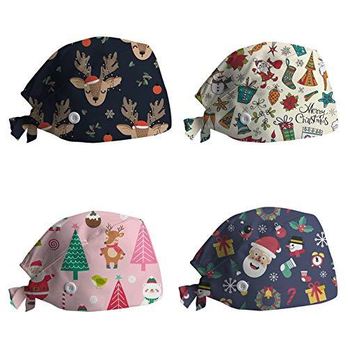 4 Piezas Navidad Sombrero de Lactancia Gorra de Trabajo...