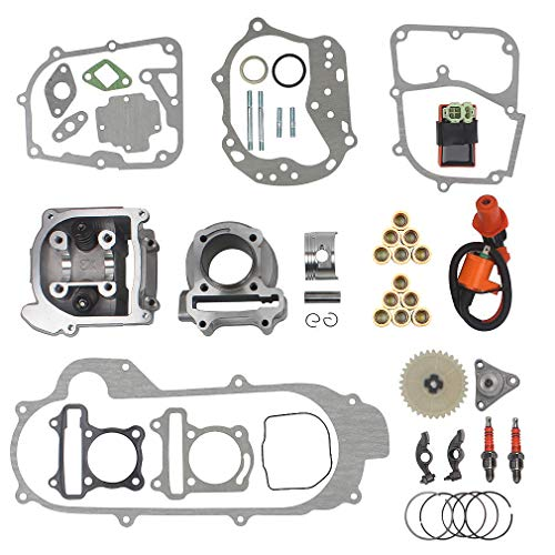 64mm Valve Big Bore Kit 100cc replacement for GY6 49CC 50CC 139QMB Moped Scooter Engine 50mm Bore Upgrade Set with Racing CDI Ignition Coil Performance Spark Plug