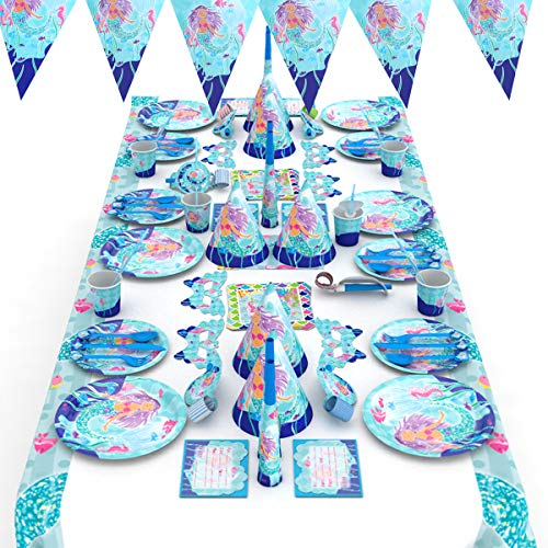 Himeland 90x Meerjungfrau Gebutstagparty Set Das knallbunte Party Set für eine Geburtstagsfeier Cupcake Und Cake Toppers Tischdecke Partytüten Einladungskarten für Kindergeburtstag Baby Shower