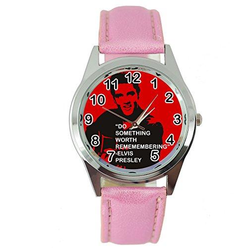 taport® Elvis Presley Music Legend Bergkristall rund Armbanduhr Pink Echt Leder Band E7Zifferblatt + Gratis Ersatz Batterie + Gratis Geschenkverpackung
