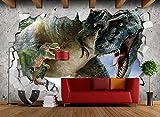 CHAFQZQ 3D Dekorationen Aufkleber Tapete Wandbilder Wand Realistischer Dinosaurier 3D Hintergrund Dekorativ Kunst Kinder Kche_400*280cm