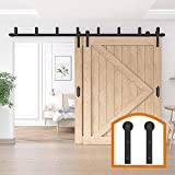 ZEKOO 5-16 FT Double Bypass Barn Door Hardware Door Kit Rustic Black Steel Metal Rail Roller Set (14 FT New Style Bypass kit)