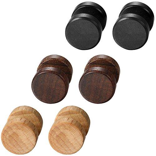 Aroncent Pendientes de Acero Inoxidable Quirúrgico y Madera para Oído Dumbbells Aretes de Perno Forma Pesas para Hombre Mujer Unisex 8-12 mm 6 Pcs (12)