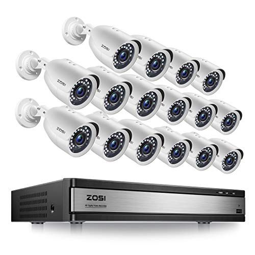 ZOSI H.265+ 1080p 16 Channel Security Camera System, 16 Channel DVR Recorder and 16 x 1080p Weatherproof Surveillance CCTV Bullet Camera Outdoor Indoor, 80ft Night Vision, 90° View Angle (No HDD)