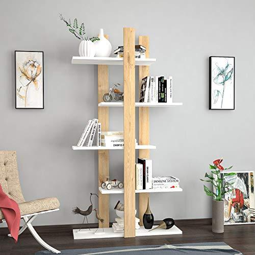 Homemania - Librería Denbi de Color Roble y Blanco, de aglomerado melamínico de 18 mm - Mueble de diseño para Libros, salón, Dormitorio, Oficina, estantería, única