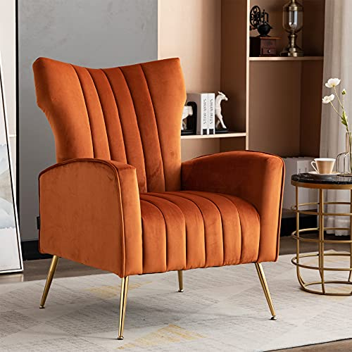 Artechworks Modern Velvet Armchairs Tub Chairs Wing Back Accent Occasional Lounge Chair Upholostered Single Sofa Gold Metal Legs for Living Room Bedroom Reception Home Office Furniture Caramel