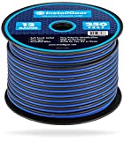 InstallGear 12 Gauge AWG 250ft Speaker Wire True Spec and Soft Touch Cable - Blue/Black