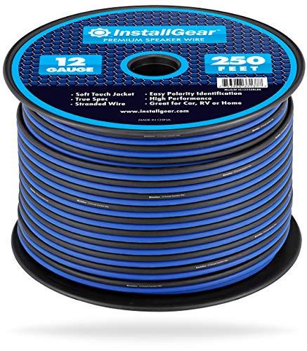 InstallGear 12 Gauge Speaker Wire (250-feet - Blue/Black)