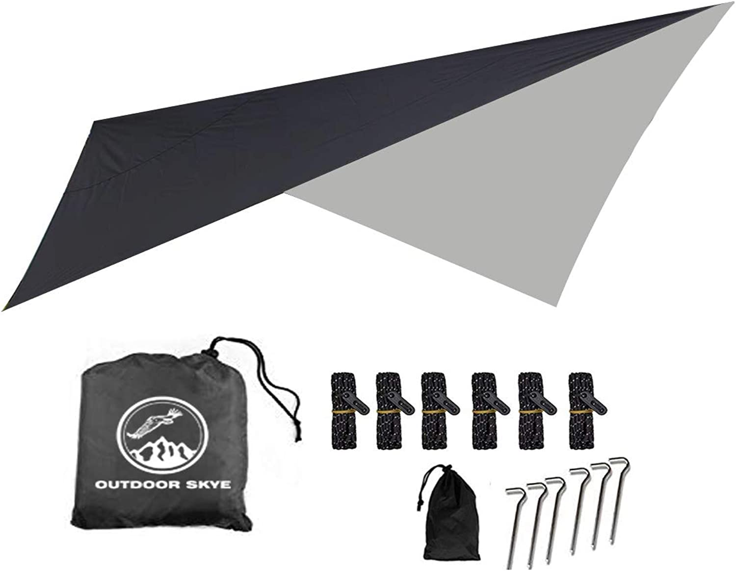 OUTDOOR SKYE 10'x10' Rain Fly Hammock Tent Tarp for Extreme Waterproof Predection  Large Canopy is Portable and Provides Ideal Shelter for Your Camping Hammock Or Tent (Black)