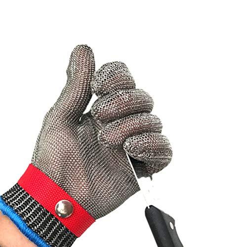 Schnittfeste Handschuhe-XHZ 316L Anti-Schneid-Eisenhandschuhe Edelstahl-Handschuhe zum Schlachten und Schneiden von Metall verlängern Stahldraht-Strickhandschuhe Grau Größe: M, L, XL