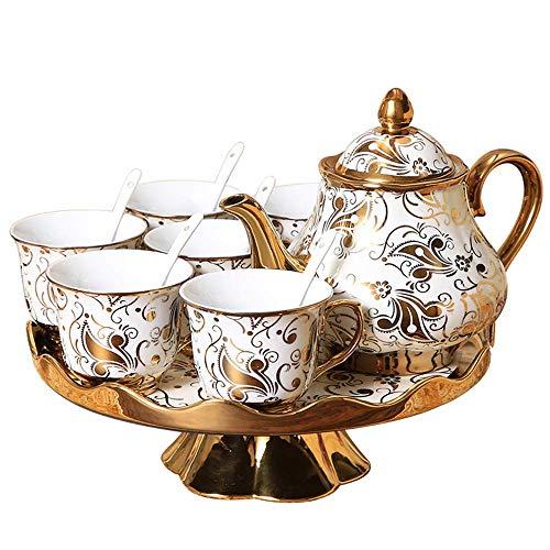 WLGQ European Tea Set Coffee Cup Creative Rotatable Coffee Set Teapot Ceramic Bone China Tray Afternoon Tea Party