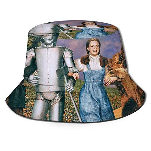 Dorothy Lion Tin Man Espantapájaros Mujer – Sombrero de cubo de impresión Sombrero de pescador de verano Sombrero de playa Sombrero para mujeres hombres y adolescentes Negro
