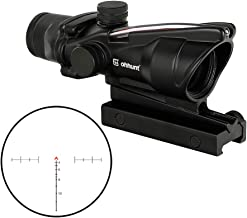 WINFREE 4x32 ACOG Hunting RifleScopes Red Chevron Glass Etched Reticle Real Fiber Optics Tactical Optical Sights Scope