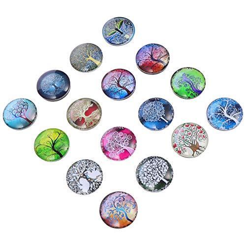 SOLUSTRE 16 unidades de imanes de cristal para frigorífico, diseño de árbol de la vida, 3D, multicolor, para pizarras magnéticas para el hogar, oficina, tarjeta, taquilla, armario