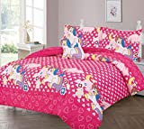 GorgeousHomeLinen Kids 6pc Hot Pink Unicorn Floral Hearts Cloudes Pony Twin Bed in Bag Comforter with Matching Sheet Set with Pillow Friend for Girls